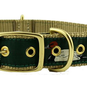 Dog Collar in Green Ribbon on Khaki Canvas with Ducks by Country Club Prep