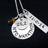 RUNNER RACE Necklace with Race Month Crystal AND Date Pendant 18 inch Sterling Silver Chain - Celebrate Your Race - Choose Distance and Date