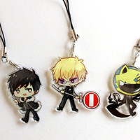 Celty, Izaya, Shizuo, Double Sided Front & Back Durarara!! Charms with Phone Strap