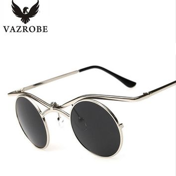 Vazrobe Small Round Steampunk Sunglasses Men Women Flip Up 80s Steam Punk Glasses for Male Vintage Gothic hip hop hippie goggles