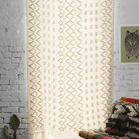 Magical Thinking Crochet Fringe Curtain- Ivory 52x63