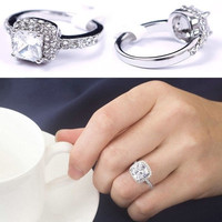 Pure Elegant Women's Shine Engagement Crystal Full Zircon Jewelry Ring Gift Size 6 7 8 9 10