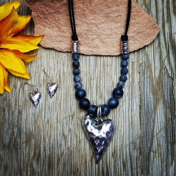 Hammered Heart Beaded Necklace