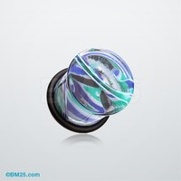Vibrant Marble Swirls Single Flared Ear Gauge Plug