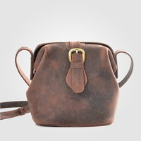 MapleClan Crazy Horse Leather Handmade Shoulder Bag Cross Body Bag Coffee