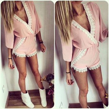 Pink Plunging Contrast Lace Trimmed Romper