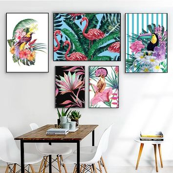 Watercolor Toucan Cuckoo Parrot Flamingo Flower Nordic Posters And Prints Wall Art Canvas Painting Wall Pictures For Living Room