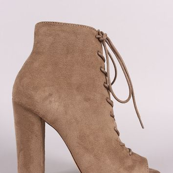 Liliana Suede Lace Up Chunky Heeled Booties