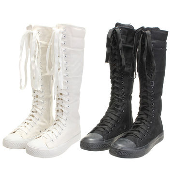 Casual Womens Knee High Boots Ladies Canvas Lace Up Zip Boots Women Motorcycle Flat Tall Punk Shoes Woman Wearproof Shoe