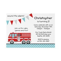 Fire Truck Polka Dot Banner Boy Birthday Party Personalized Invitation from Zazzle.com