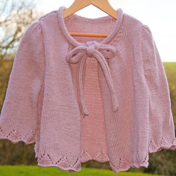 Girls Cardigan - Pink Knitted Top for Children with Bow Tie - Hand knit - 6 years old