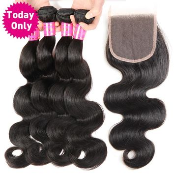 Brazilian Body Wave 3 Bundles With Closure 100% Human Hair Bundles Lace Closure With Baby Hair Non Remy Hair Weave