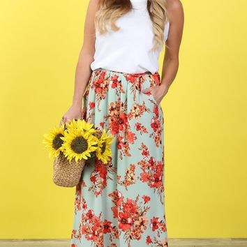 Mint Floral Pocket Maxi Skirt | S-XL