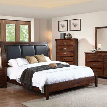 5 pc Nashville IIcollection rustic oak finish wood queen bed set with padded headboard
