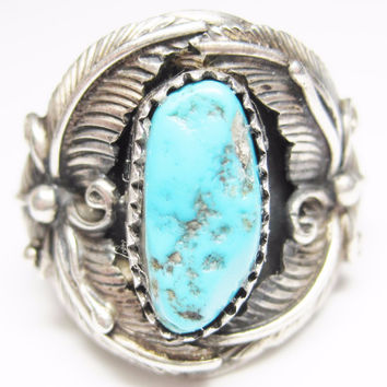 Vintage Navajo Turquoise Feather Ring Sterling Size 9