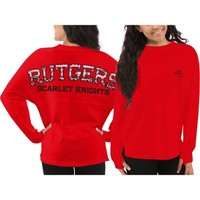 Women's Rutgers Scarlet Knights Red Aztec Sweeper Long Sleeve Top