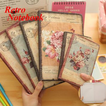 Retro Leather Floral Flower Schedule Book Diary Weekly Planner Notebook School Office Supplies(Style Random)