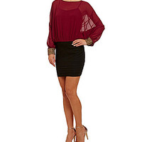 I.N. San Francisco Studded Cuff Blouson Dress - Bordeaux