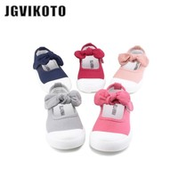 JGVIKOTO Baby Girl Shoes Canvas Casual Kids Shoes With Bowtie Bow-knot Sweet Candy Color Girls Sneakers Children Shoes 21-30