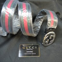 Authentic New Gucci Black/Green/Red GG Buckle Belt Size 100cm 34 Waist