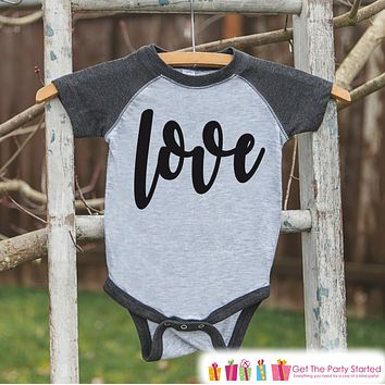 Kids Valentines Outfit - Black Love Script Valentine's Day Shirt or Onepiece - Boy or Girl Valentine Shirt - Baby, Toddler, Youth - Grey