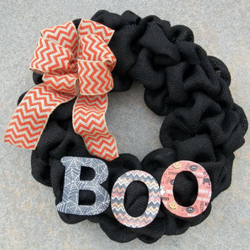 "18 "" Black Burlap Halloween Wreath  BOO , halloween wreath,, fall wreath, door decoration"