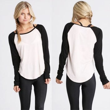 Fashion Women Summer Casual Long Sleeve Colorblocked Baseball T-Shirt Blouse Top = 1956693572