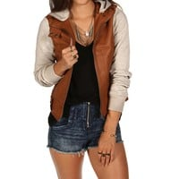 Sale-natural Fall Favorite Leather Jacket