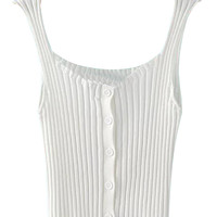 White Button Up Ribbed Cropped Vest