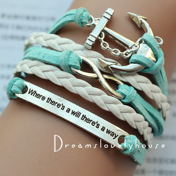 Christmas gift, Infinity Anchor Charm Bracelet, Blue Wax Cords,White Braided leather cords