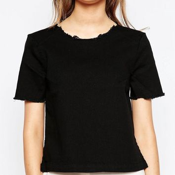 Pieces | Pieces Black Denim Shirt with Frayed Neckline at ASOS