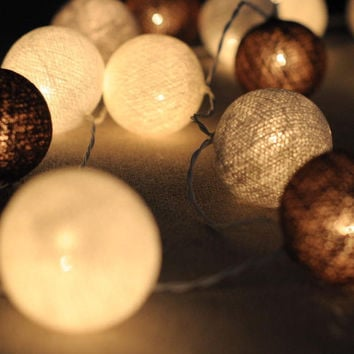 handmade French chocolate cookie cream color cotton ball string light decoration patio wedding party garland light porch
