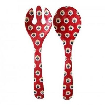 Table Serving Fork and Spoon-Fine Melamine China-Red Fleur de Provence from Le Cadeaux
