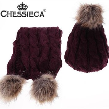 Christmas Gift Gorros Mujer Invierno Thicken Faux Fur Winter Warm Knitted Scarf And Hat Set For Women Bonnet Femme Hiver Skullie
