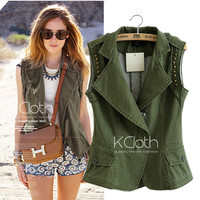 KCLOTH Rivet Biker Sleeveless Jacket O1313