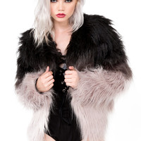 Shaggy It Up Collarless Ombre Faux Fur Jacket