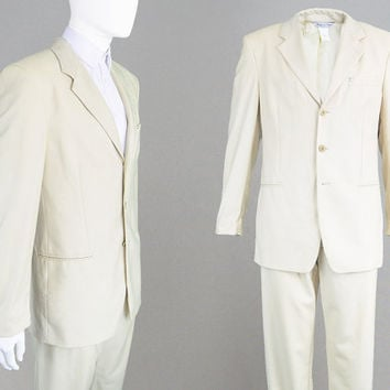 Vintage 90s GIANNI VERSACE Suit Mens Beige Suit Wool Jacquard Suit Logo Print Medusa Head Mens Two Piece Suit Minimalist Khaki Suit Men
