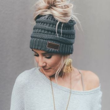 Messy Bun Knitted Beanie Hat - Charcoal Gray