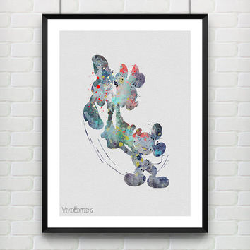 Mickey & Minnie Mouse Disney Watercolor Poster Art Print, Baby Nursery Wall Art, Kids Decor, Not Framed, Gift, Buy 2 Get 1 Free! [No. 29-2]
