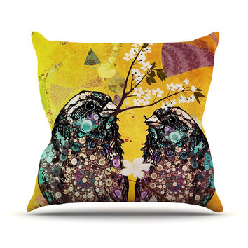 "AlyZen Moonshadow ""Birds In Love Yellow"" Orange Gold Outdoor Throw Pillow"