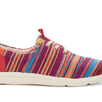 TOMS Raspberry Tribal Woven Women's Del Rey Sneakers Red