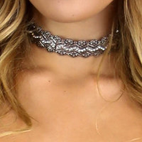 Get My Way Silver Pendant Encrusted Choker