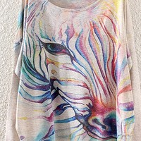 Colorful Horse Print Long Sleeve Sweater