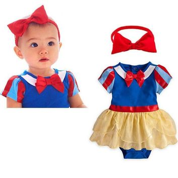 2017 Fashion 2pcs Girl Baby Bebe Toddler Headband+Romper Snow White Fancy Dress Birthday School Play Party Rompers Clothes Sets
