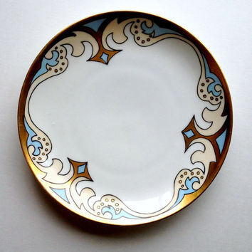 Antique KPM Porcelain Plate, Hand Painted Plate, Fine China Decorative Plate, Blue and Gold Plate, German Porcelain