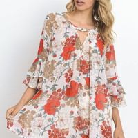 Floral Tiered Ruffle Tunic - Off White (PRESALE)