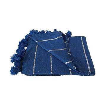 Ben and Jonah Striped Moroccan Pom Pom Throw Blanket (Silver on Blue)