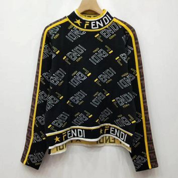 Fendi F Striped Color Letter Round Neck Collar Knitted Sweater-10
