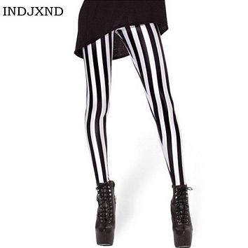 INDJXND Plus size Women Leggings New Fashion Elasticity Women Adventure Time Bro Ball Leggings Montage Comic Black Leggins K014