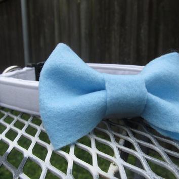 Dog Collar and Bow - Sky blue Felt Bow and White dog collar - wedding dog collar, bow tie dog collar